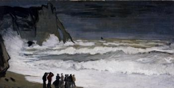 Claude Oscar Monet : Rough Sea At Etretat